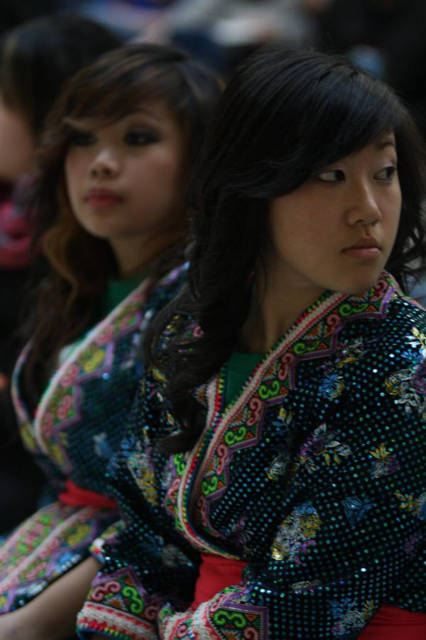 Students at the 2012 Multicultural Fair at Wauwatosa West wait to perform their dance routine.