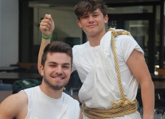Juniors Alec White, left, and Simon Doyle, right, wear togas on toga day.