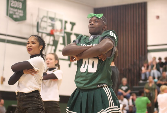 """This Friday afternoon pep rally concludes the week long spirit week celebration. """"Man Poms"""" is one of the highlights of the pep rally and is a unique and long running Tosa West tradition."""