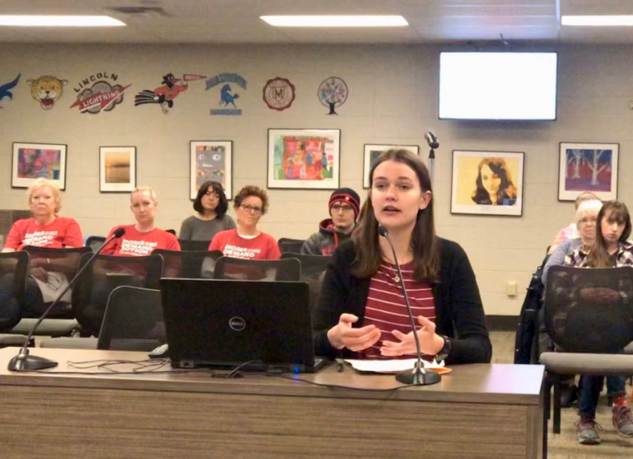 Wauwatosa East Junior Sarah Gifford presents her slideshow at the school board meeting.