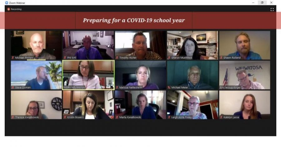 Wauwatosa School Board members and district staff meet over Zoom for July 27th meeting.