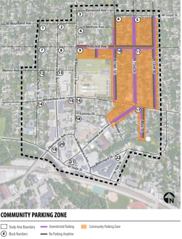 The proposed community parking zone around Wauwatosa East High School