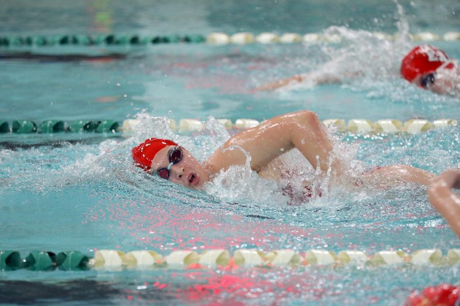 Wauwatosa East Freshman Olivia Small swims in a meet against DSHA on September 10.