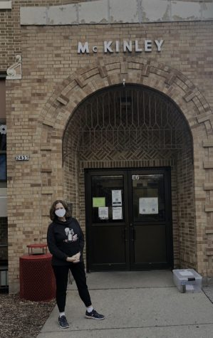 McKinley Elementary School Principal Jean Hoffman stands outside an entrance to McKinley.
