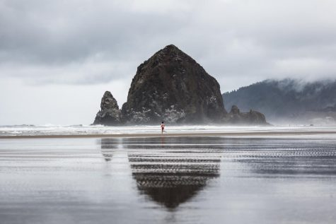 "Haystack with Red Shorts by Evan Decker. ""During a 2018 trip to the Pacific Northwest the stars aligned for me to take a picture of the legendary Haystack Rock with a smooth reflection from the heavy rain the night before. I had planned to get up early to capture the sunrise but was pleasantly surprised by the scene I found on the beach, the timely swimmer sprinting towards the surf added an extra layer to my photograph,"" comments Decker."