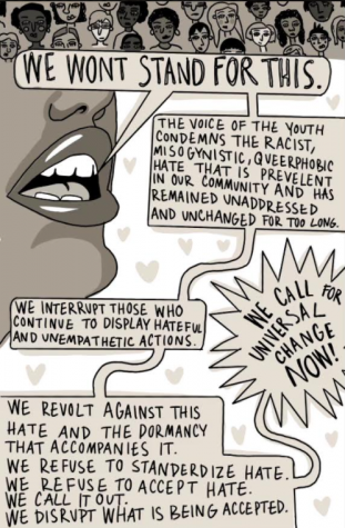 We call for universal change now!  Graphic by Evelyn Skyberg Greer