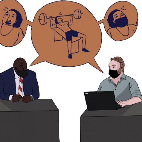 Wauwatosa school board member Shawn Rolland debates with Superintendent Desmond Means about requiring masks while tudents are activly participating in physical activity. Graphic by Evelyn Skyberg Greer.