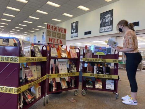 Chloe Ellery with the display she and librarian Derek DeVinney created in the library